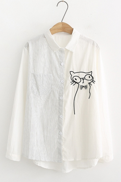 Long Sleeve Stand Collar Striped Patch Bow Cat Printed Sweet Womens Casual Loose Shirt