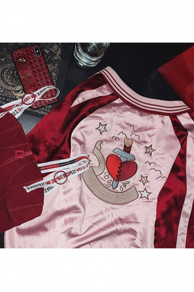 Love with One Knife Pattern Printed Color Block Zip Baseball Jacket