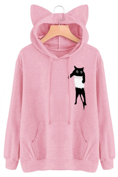 Lovely Pocket Cat Cartoon Pattern Long Sleeves Pullover Hoodie with Ears