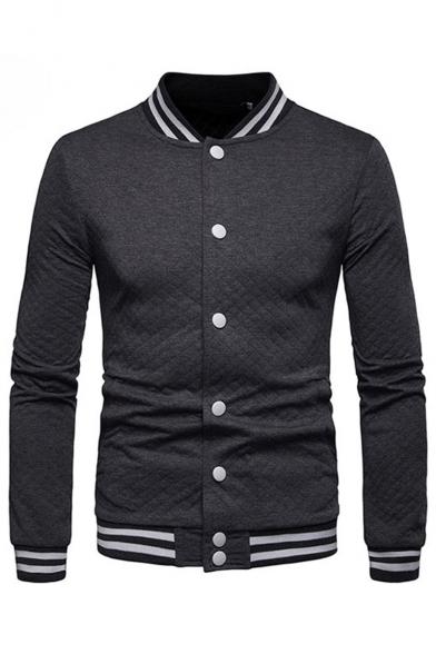Men's Hot Fashion Geometric Print Long Sleeve Stand-Collar Button Front Baseball Jacket