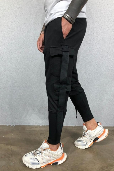 Men's New Fashion Simple Plain Ribbon Embellished Drawstring Waist Hip Pop Pencil Pants with Side Pockets