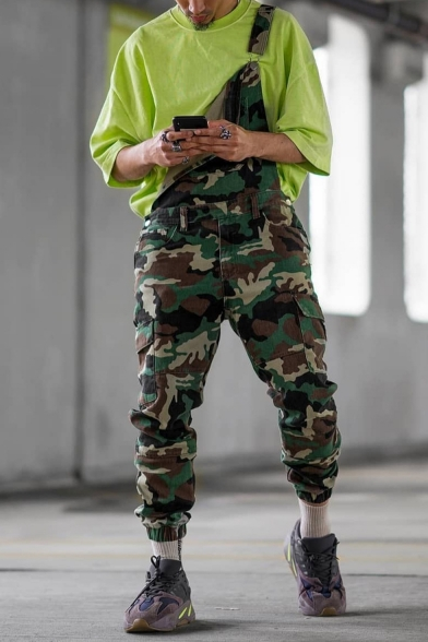 Men's New Stylish Cool Camouflage Printed Army Green Cargo Pants Bib Overalls