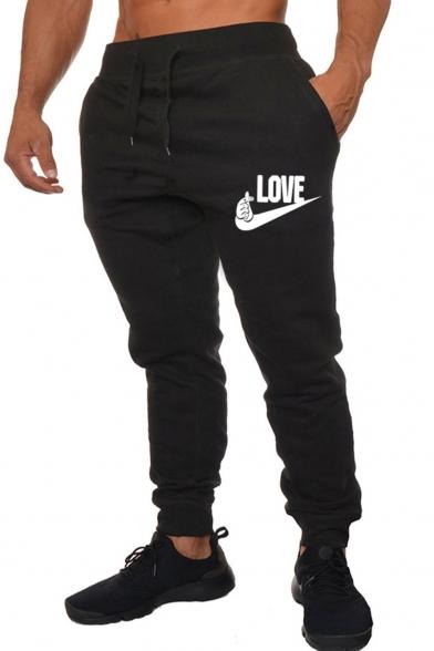 Men's Popular Fashion Letter LOVE Printed Drawstring Waist Casual Sweatpants