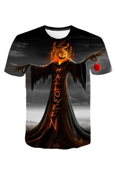 Mens Halloween Cool Pumpkin Letter HALLOWEEN Pattern Round Neck Short Sleeve Graphic T-Shirt