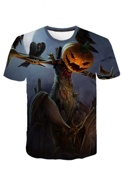 Mens Halloween Funny Pumpkin Pattern Round Neck Short Sleeve Casual T-Shirt