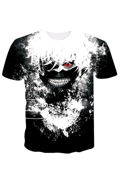 Mens New Stylish Short Sleeve Round Neck Comic Printed Black And Casual White T-Shirt