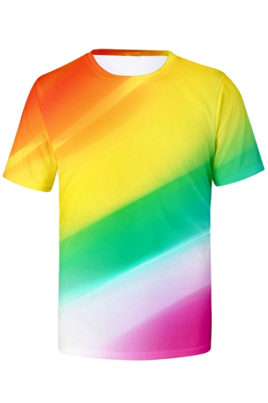 Mens Short Sleeve Round Neck Colorful Colorblock Printed Casual T-Shirt