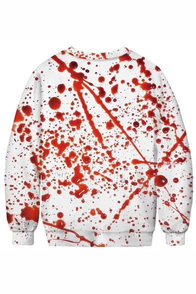New Arrival Halloween Blood Heart 3D Printed White and Red Long Sleeve Round Neck Sweatshirts