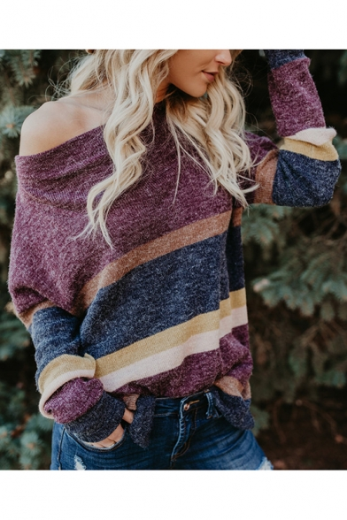 New Arrival Patchwork Print Off the Shoulder Batwing Sleeve Split Sides Sweater for Women, LM557074