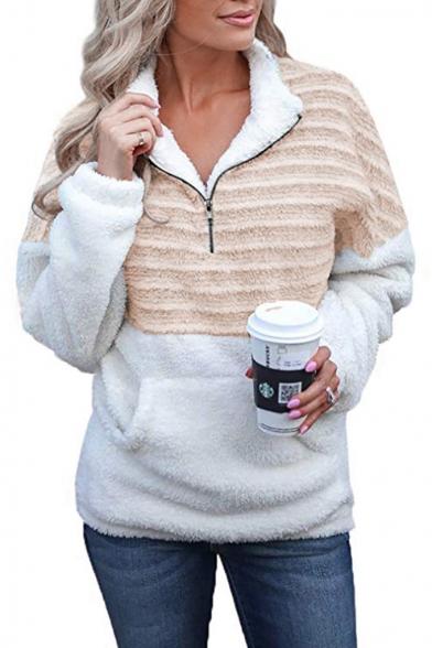 New Fashion Color Block Half-Zip Stand Collar Long Sleeve Plain Fluffy Teddy Sweatshirt With Pocket, Black;blue;yellow;coffee, LM554930