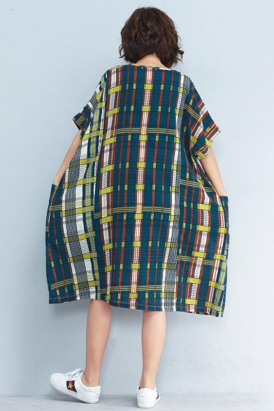 New Fashion Vintage V-Neck Short Sleeve Multi Plaid Loose Shift Midi Dress With Pockets