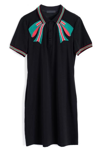 New Stylish Chic Bow-Tie Embroidery Short Sleeve Black Mini Polo Dress