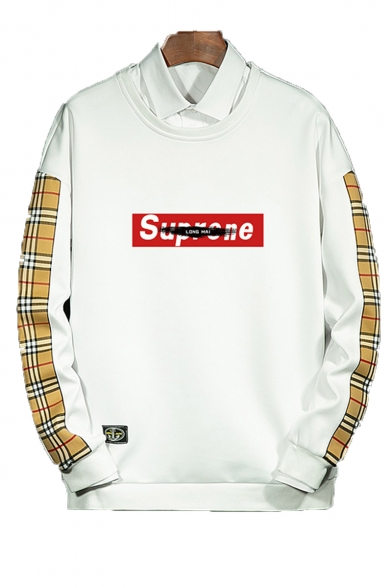 New Stylish Letter Plaid Printed Round Neck Long Sleeve Unisex Casual Sports Pullover Sweatshirts
