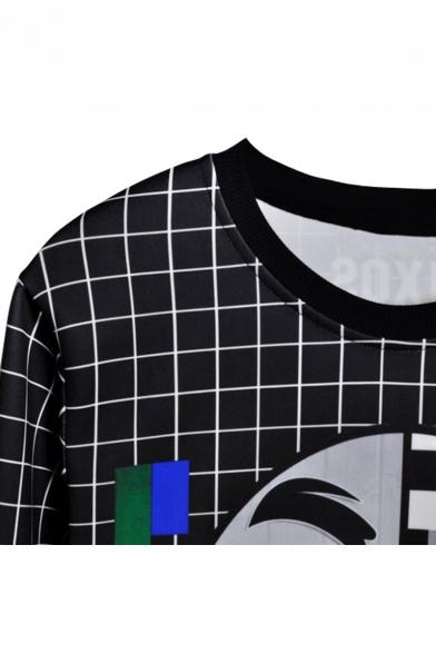 New Stylish Plaid Figure Graphic Pattern Long Sleeve Round Neck Black Sweatshirts