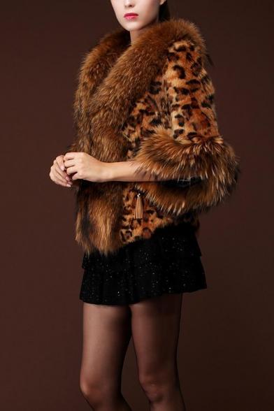 New Stylish Winter's Leopard Print Warm Faux Cropped Fur Coat