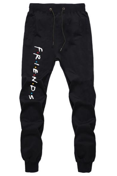 New Trendy Friends Letter Printed Drawstring Waist Casual Sport Sweatpants Jogger Pants