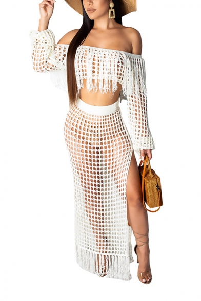 Off Shoulder Puff Sleeve Cropped Top with High Waist Slit Side Fringe Hem Sheer Cutout Casual Two-Piece Set for Girls