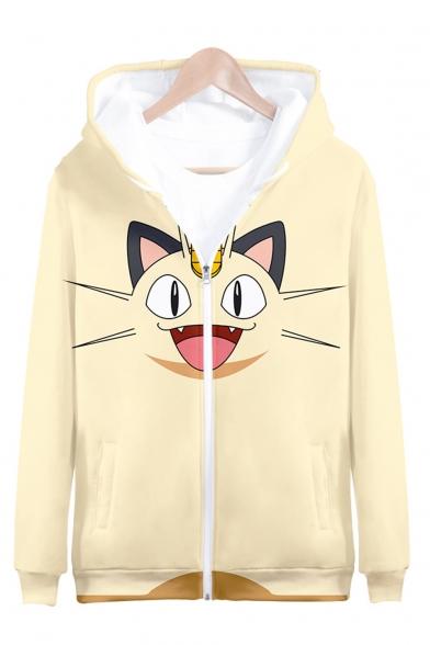 Cute Cartoon Cat 3D Printed Long Sleeve Light Yellow Casual Zip Up Hoodie