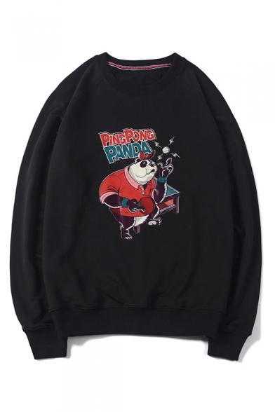 Popular Fashion Ping Pong Cartoon Panda Printed Long Sleeve Round Neck Casual Pullover Sweatshirts