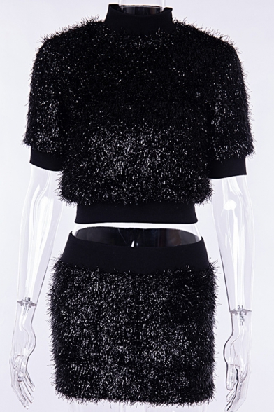 Short Sleeve High Neck Umbilical Top with Elastic Waist Mini Skirt Black Sparkly Leisure Co-ords