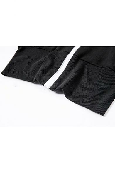 Simple Letter Printed Contrast Stripe Zipper Cropped Black Jacket Coat