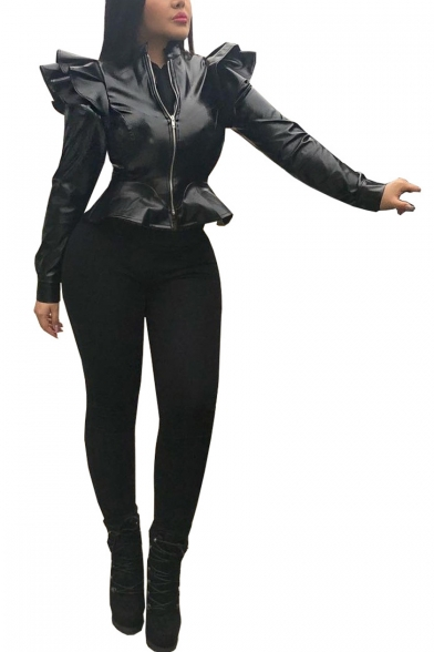 Solid Color Zipper Asymmetric Peplum Shoulder Slim Leather Cropped Jacket