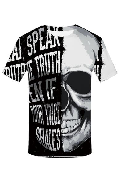 Summer Hot Sale Letter Skull Print Basic Short Sleeve Round Neck Black And White T-Shirt