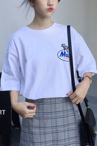 Sweet Womens White Short Sleeve Round Neck Insist On Letter Printed Loose T Shirt