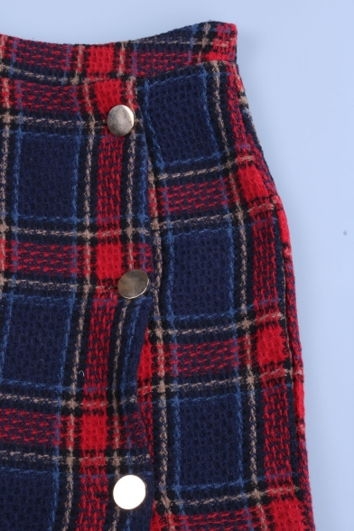 Trendy Red Plaid Print Collared Long Sleeve Crop Coat Top Tube Skirt Co-ords