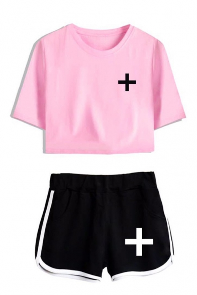 TXT Simple Logo Print Short Sleeve Cropped Tee with Loose Dolphin Shorts Sport Two-Piece Set, Color 1;color 2;color 3;color 4;color 5;color 6;color 7;color 8, LM551413