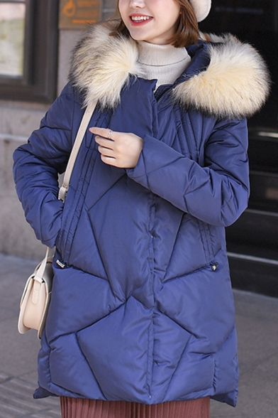 Winter Warm Slim Faux Fur Hooded Long Sleeve Zipper Basic Longline Down Padded Coat