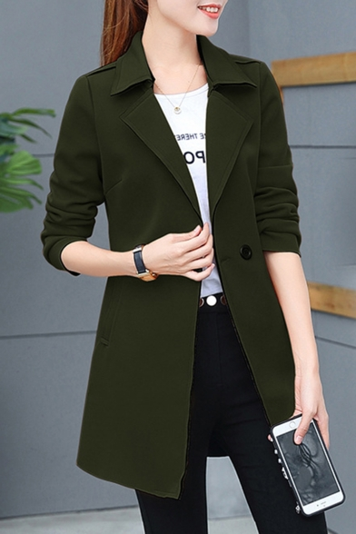 Women's Comfortable Long Sleeve Double Button Longline Fitted Trench Coat