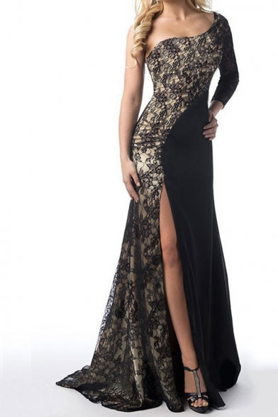 Women's Sexy One Shoulder One Sleeve Split Front Guipure Lace Floor Length Enevning Dress