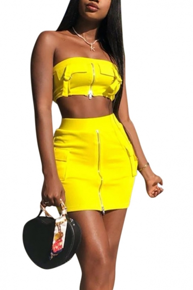 Women' Summer Stylish Plain Yellow Zipper Crop Bandeau Top with Mini Skirt Two-Piece Set, LM553078