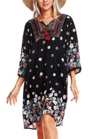 Women's V-Neck Long Sleeve Tassel Bohemian Vintage Floral Printed Ethnic Style Loose Shift Dress