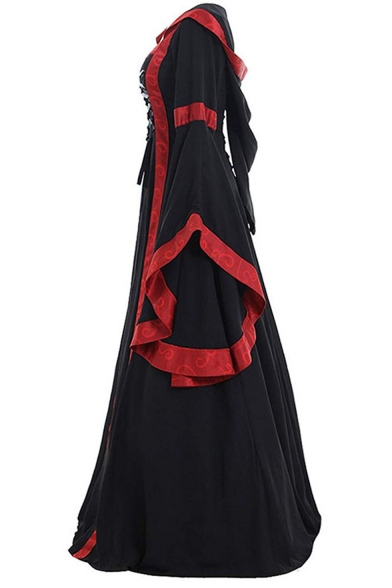 Womens Fashion Medieval Vintage Square Neck Extra Long Sleeve Lace-Up Front Floor Length Swing Dress