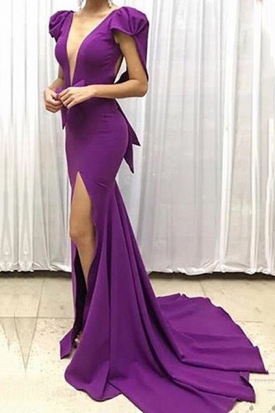 Womens Hot Fashion Dark V-Neck Cap Sleeve Split Front Purple Enevning Bodycon Floor Length Dress
