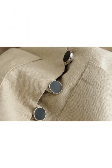 Womens Lapel Collar Long Sleeve Single Button Down Pockets Mini Blazer Dress