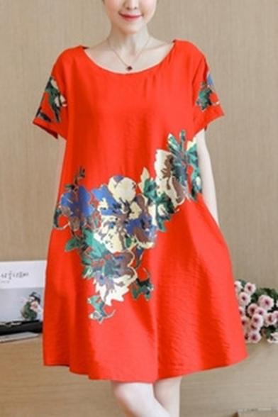 Womens New Fashion Round Neck Short Sleeve Floral Print Loose Midi Swing Sheath Dress