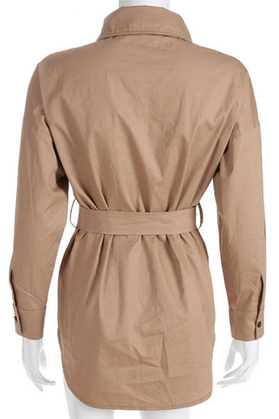 Womens New Stylish Lapel Collar Long Sleeve Belted Waist Khaki Button Down Trench Coat