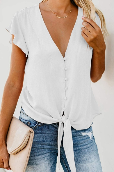 Womens New Stylish Simple Plain V-Neck Ruffled Short Sleeve Button Front Knotted Hem Chiffon Blouse Top