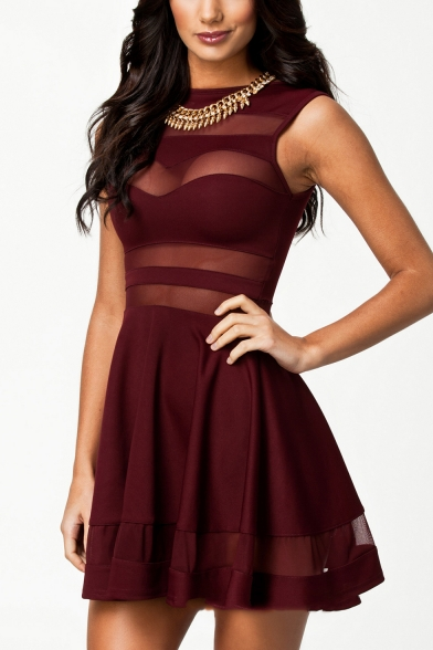 Womens Sexy Transparent Mesh Patched Sleeveless Mini A-Line Dress