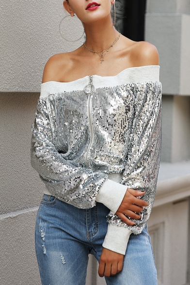 Womens Stylish Silver Long Sleeve Zip Up Sequined Off Shoulder Jacket
