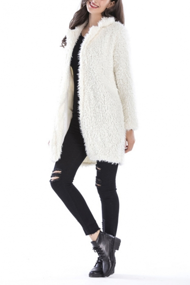 Womens Winter New Stylish Plain Notched Lapel Collar Long Sleeve Faux Fur Longline Coat