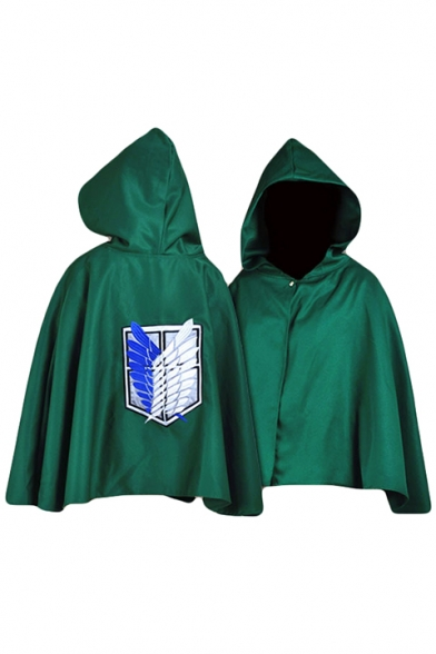 Attack on Titan Logo Back Printed Single Button Hooded Cape Short Coat