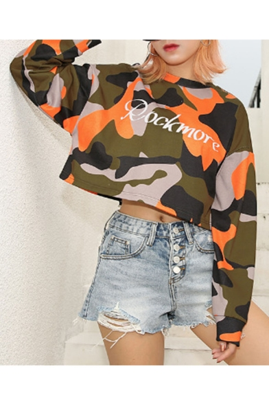 Cool Womens Hot Stylish Long Sleeve Rockmore Letter Cropped Camo Sweatshirts