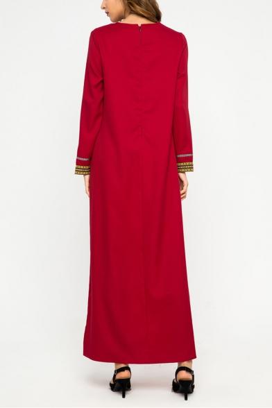 Fancy Chevron Stripe Printed Round Neck Long Sleeve Red Maxi Swing Dress