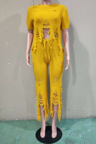 Fashion Short Sleeve T Shirt with High Waist Pants Cutout Fringe Hem Yellow Co-ords