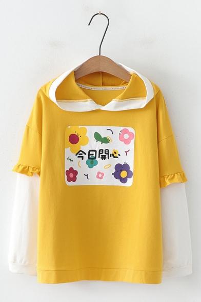 Flower Printed Color Block Ruffled Long Sleeve Hoodie for Juniors