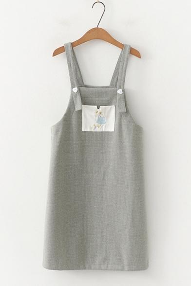 Girls Summer Cartoon Figure Embroidery Plaid Printed Corduroy Mini Overall Dress